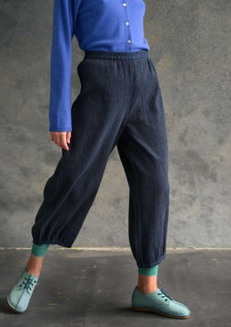 Solid-colour trousers ink blue