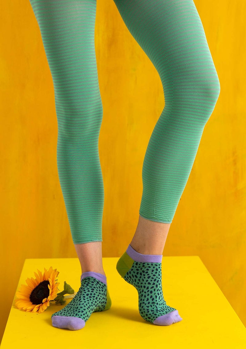 Striped leggings in recycled nylon artemisia/coriander