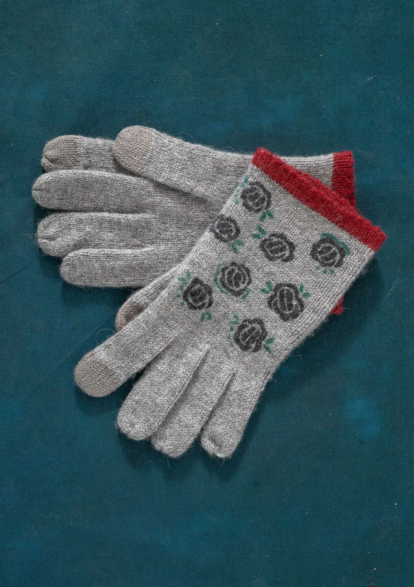 Gants en maille Linros light grey melange/patterned