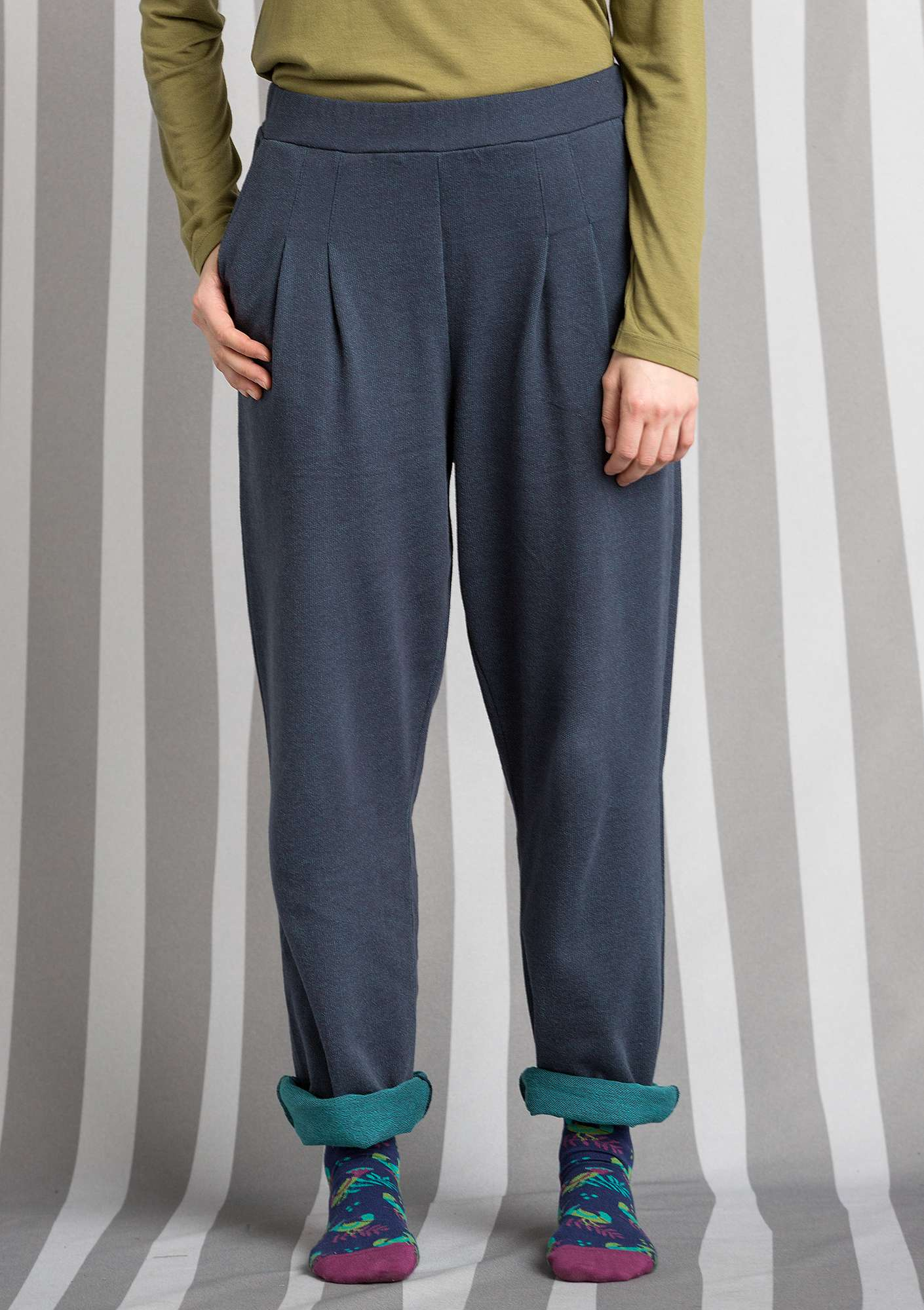 Eco-cotton trousers blue mussel