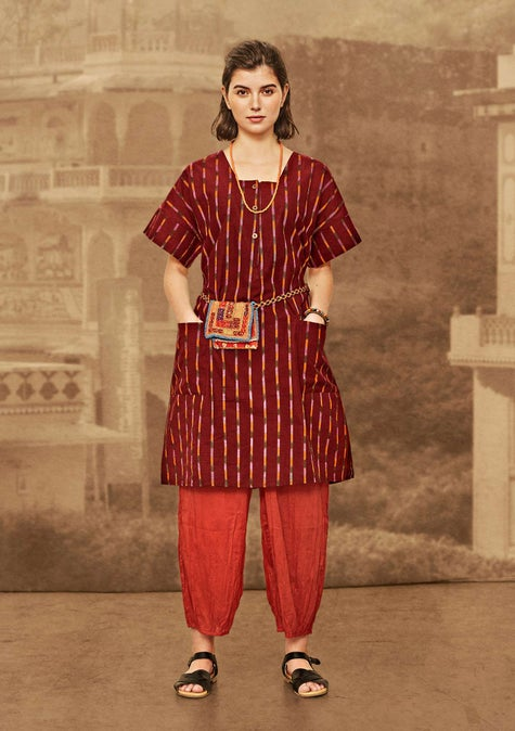 Ikat dress madder red