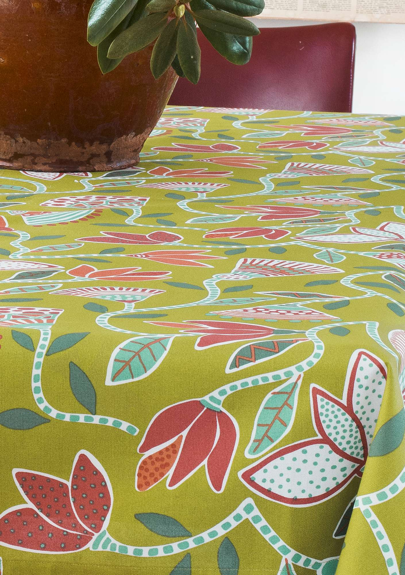 """Artemis"" organic cotton print fabric kiwi"