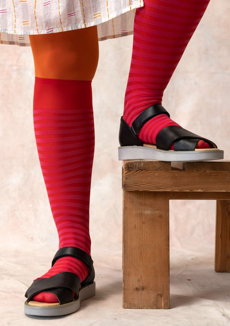Striped knee-highs in recycled polyamide bright red