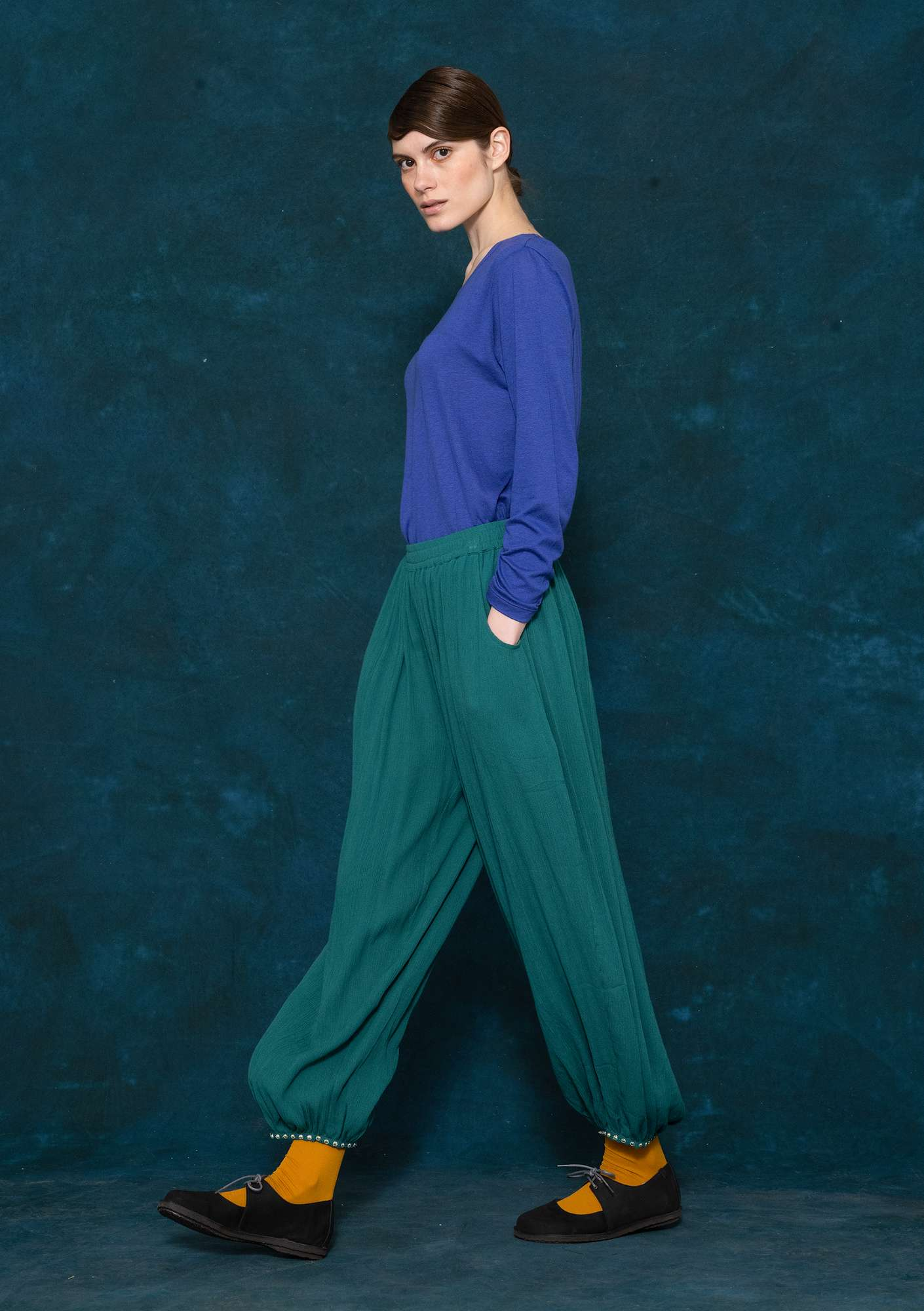 Woven viscose harem trousers peacock green