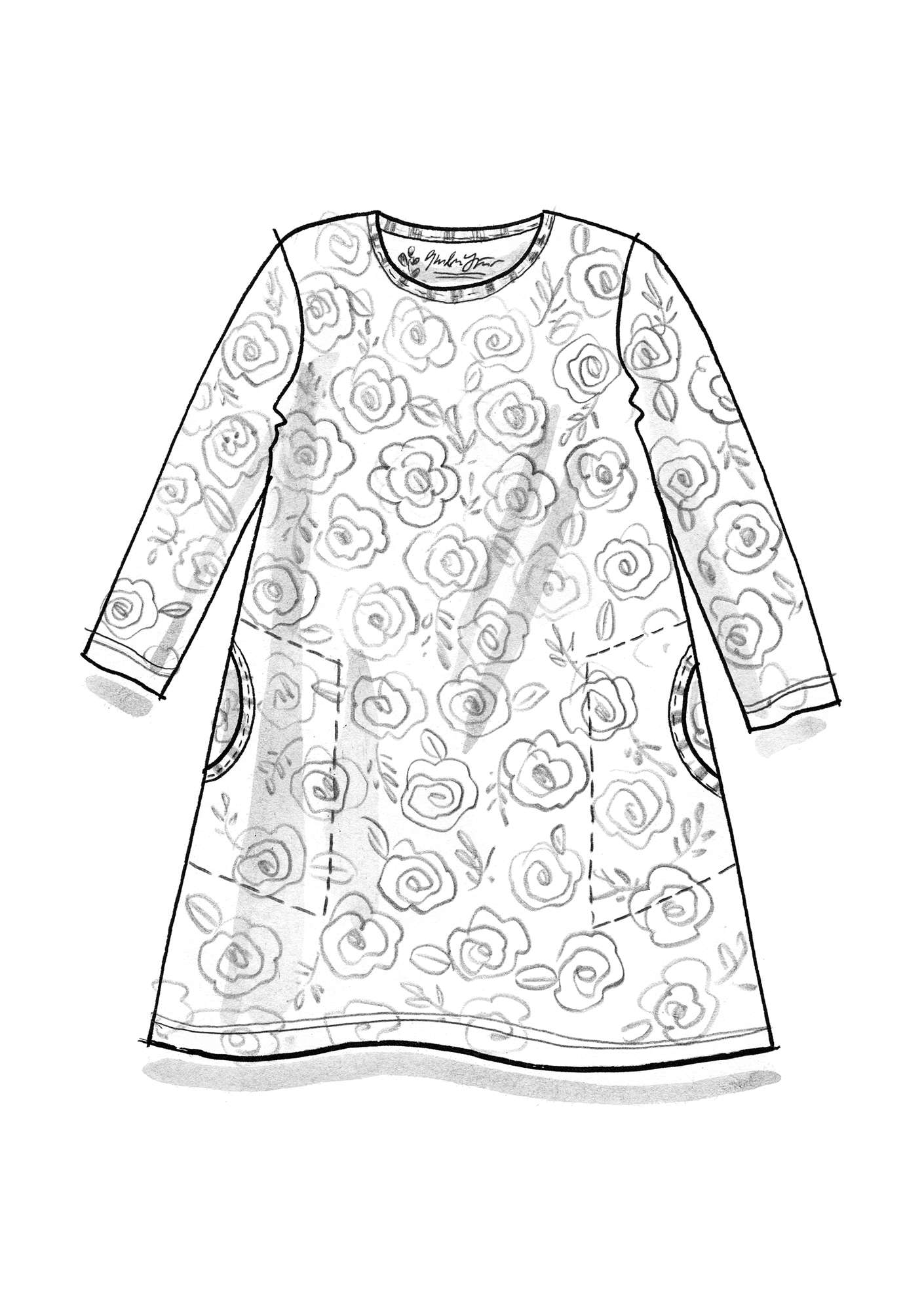 """Liz"" tunic in organic cotton/modal/elastane pomegranate"
