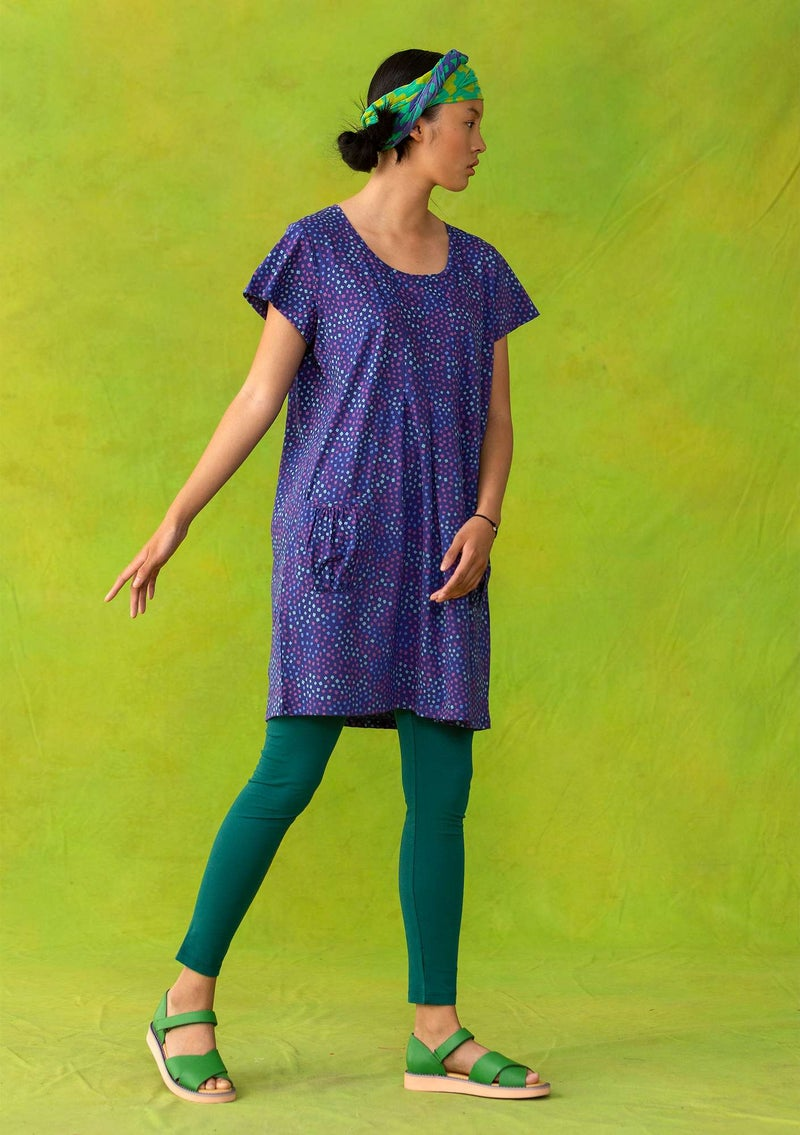 """Confetti"" tunic in lightweight organic cotton violet/patterned"