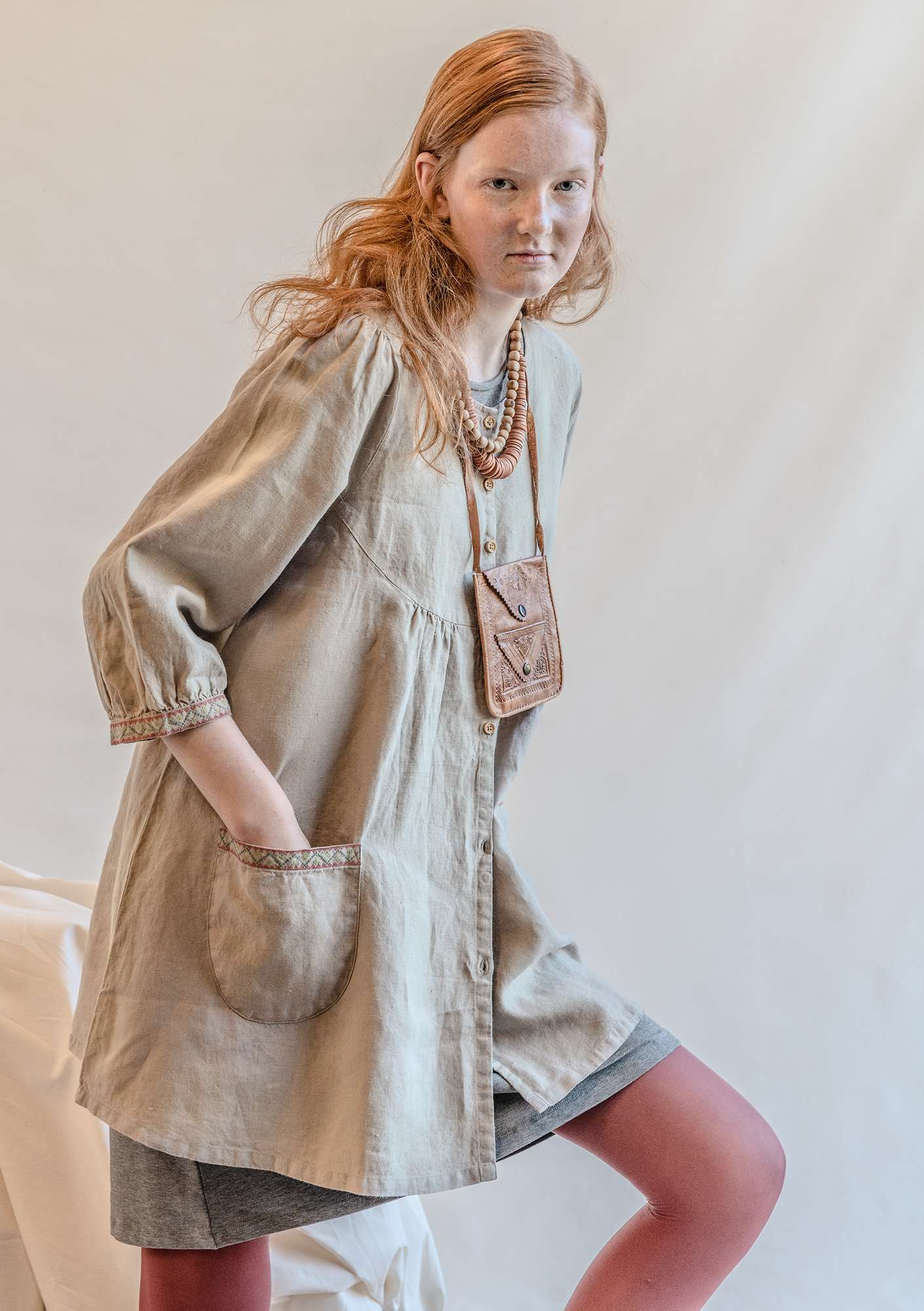Linen smock blouse dark natural