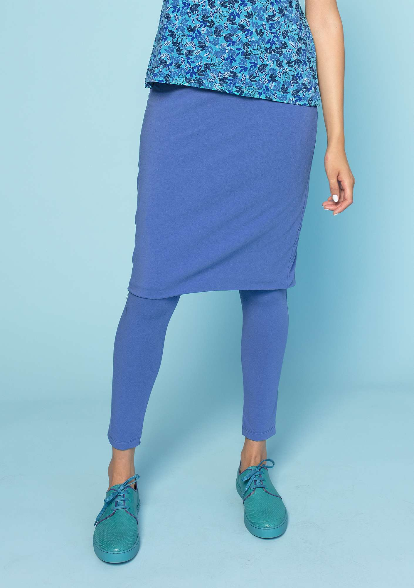 "Reversible ""Minerva"" skirt in eco-cotton/spandex sky blue/turquoise"