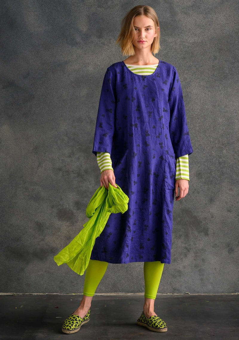 """Sprint"" linen dress violet/patterned"