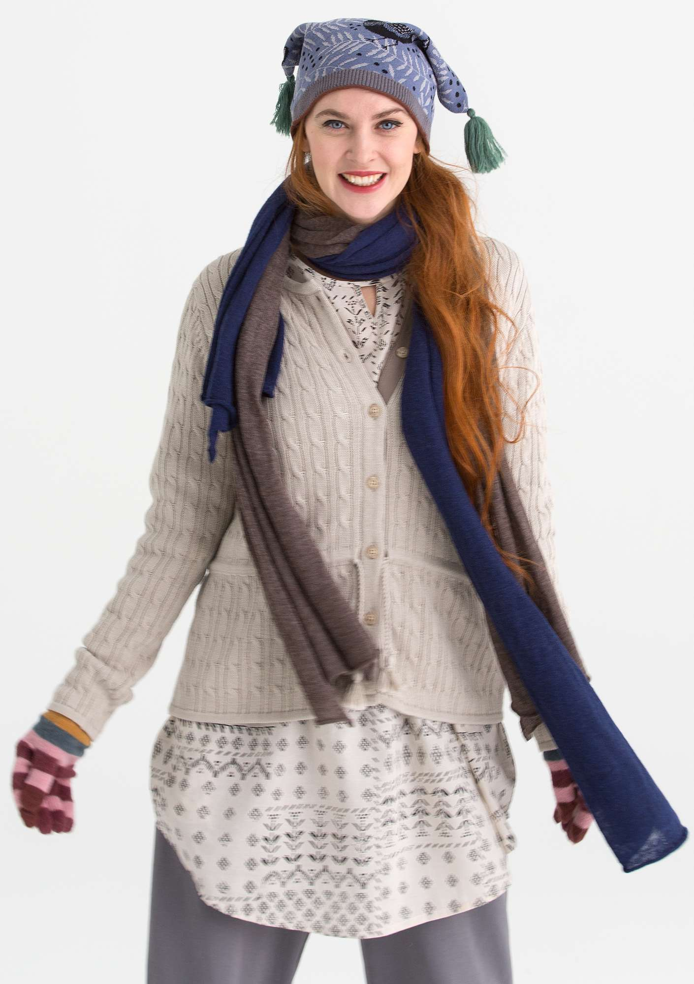 Cable-knit cardigan in eco-cotton putty