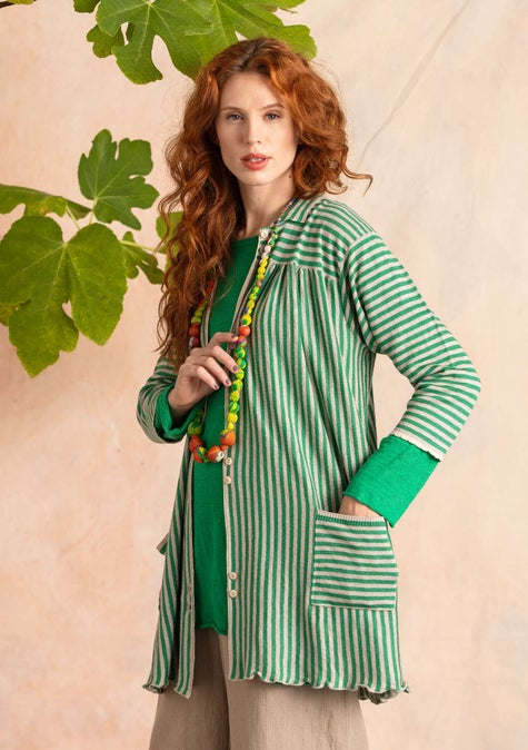 Knit-fabric smock blouse dark emerald
