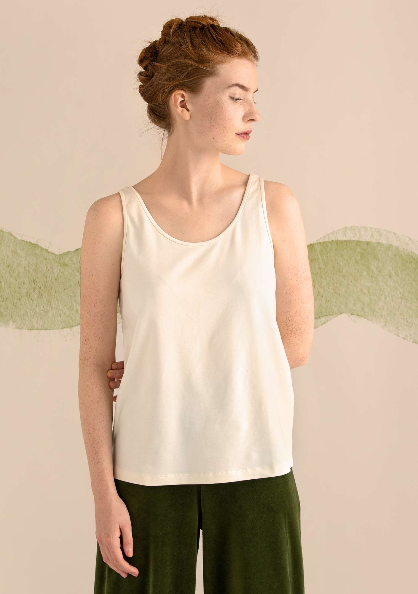 VIGG tank top in modal/organic cotton/elastane offwhite