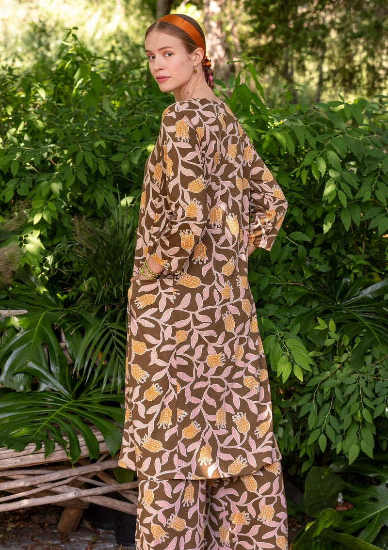 """Azilal"" organic cotton/modal jersey dress gold ochre"