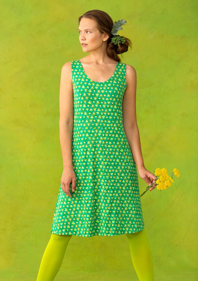 "Sleeveless ""Molly Dolly"" dress in lyocell/spandex lotus green/patterned"