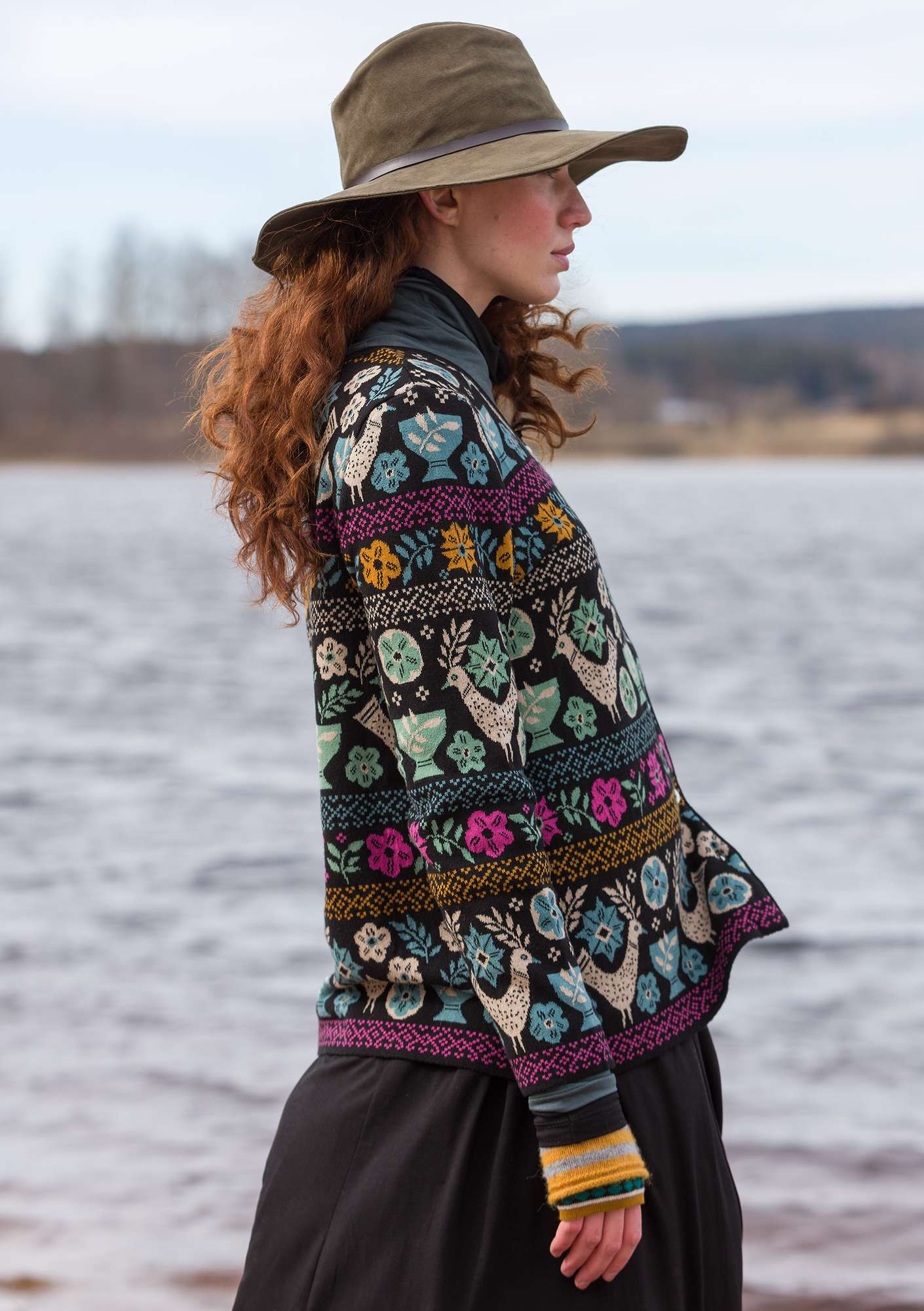 """Färila"" jacquard cardigan made of organic cotton black"