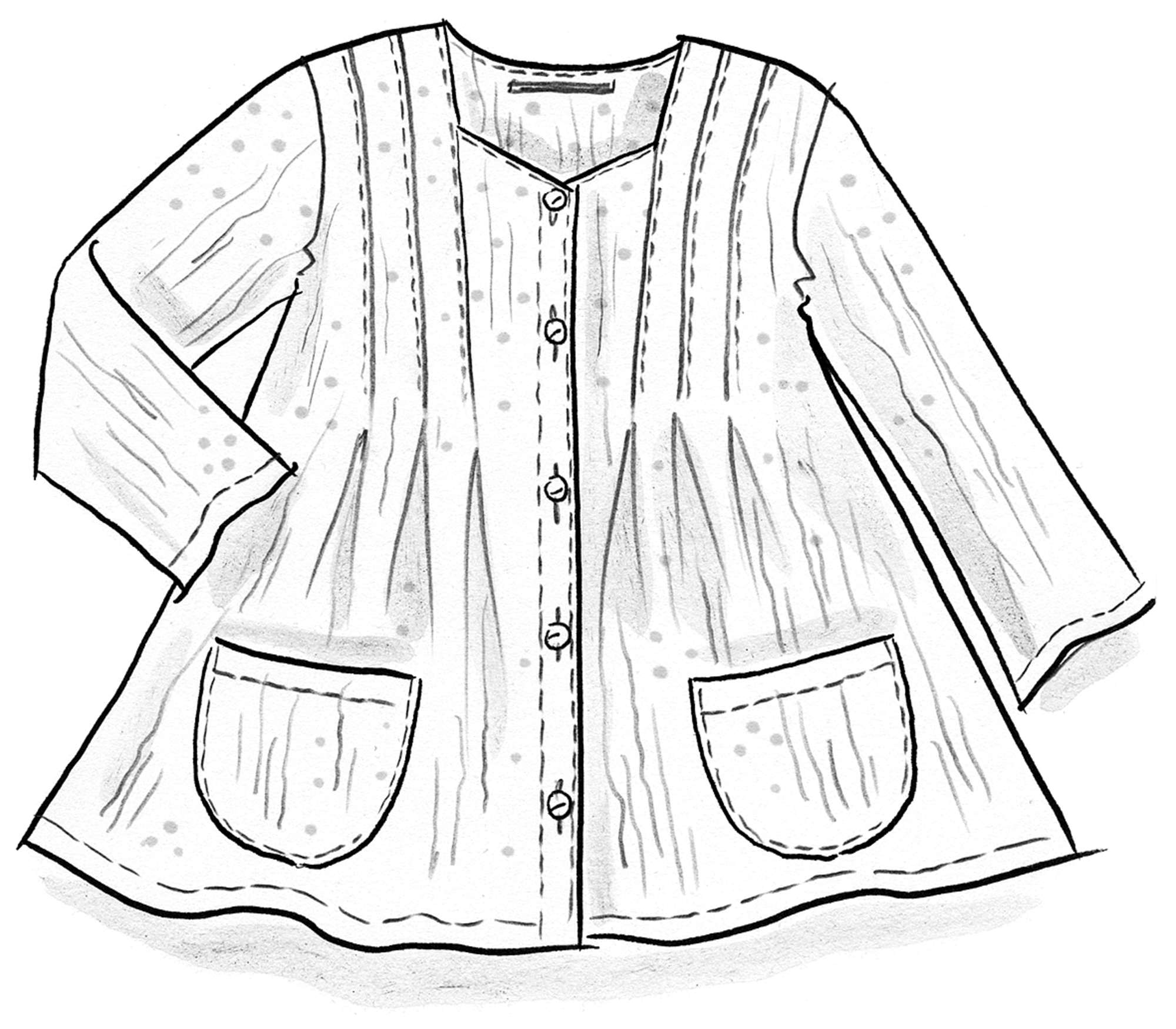 Artist's blouse in cotton crêpe