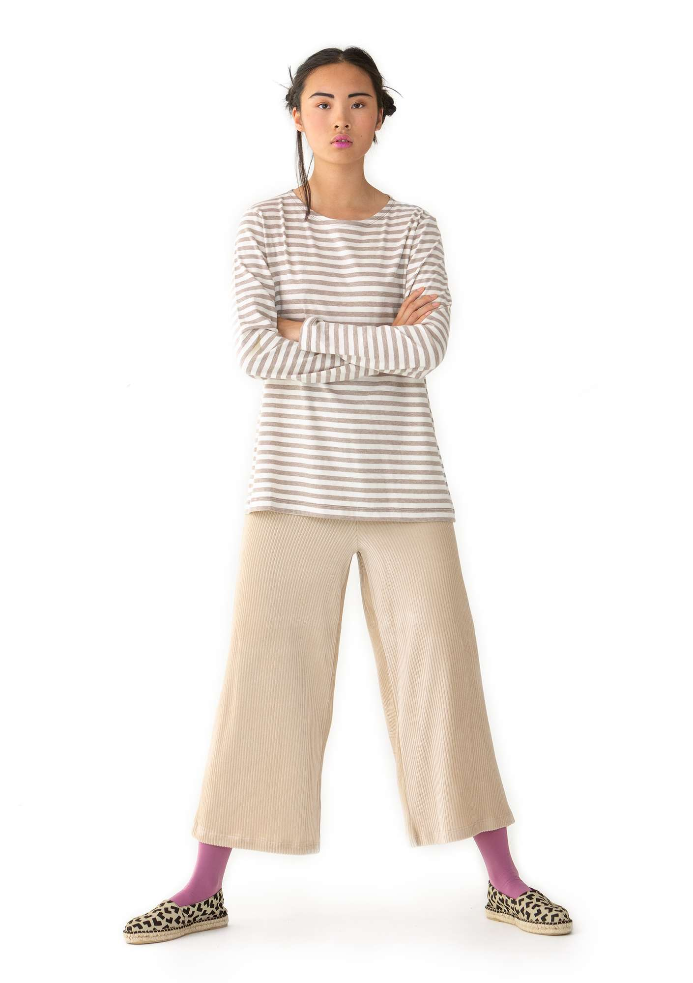 Ribbed velour trousers light sand