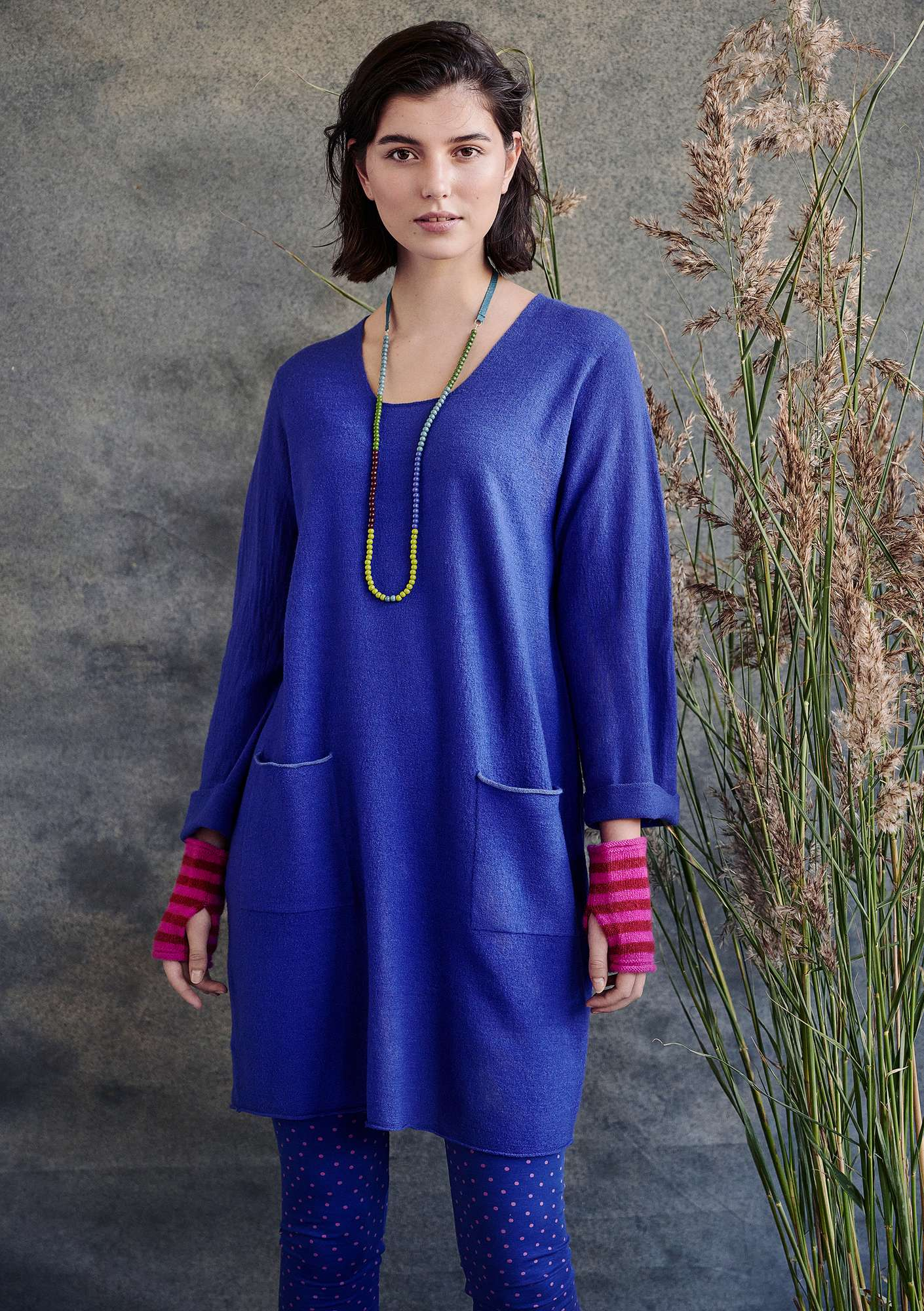 Felted wool tunic cobalt blue