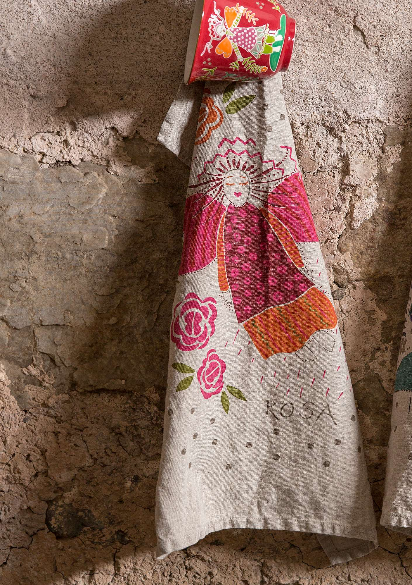 """Rosa/Isadora"" linen kitchen towel mountain ash"