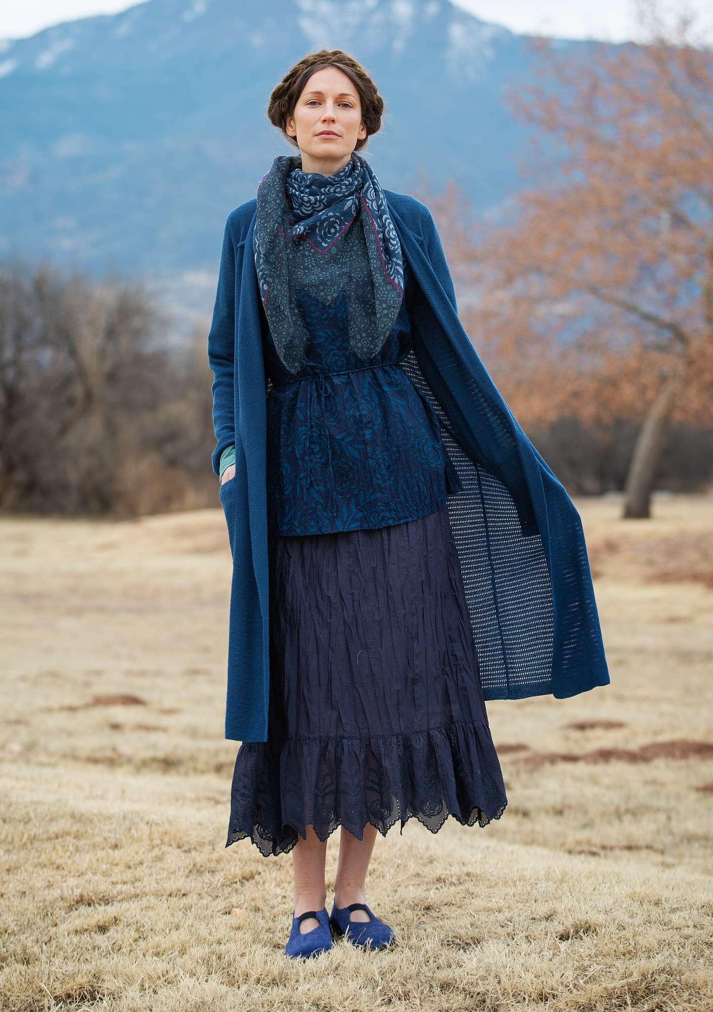 Long cardigan in organic cotton indigo