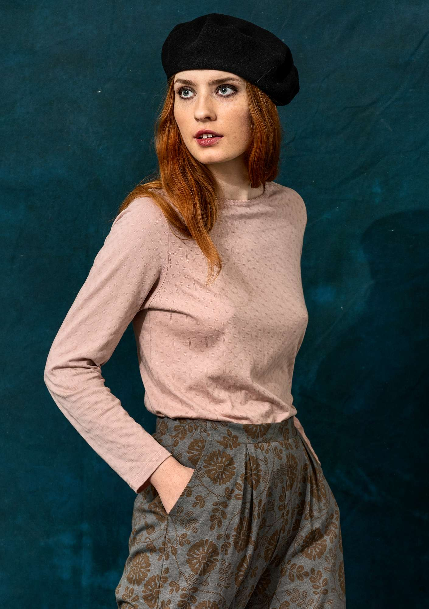 Pointelle top in organic cotton/modal pink sand
