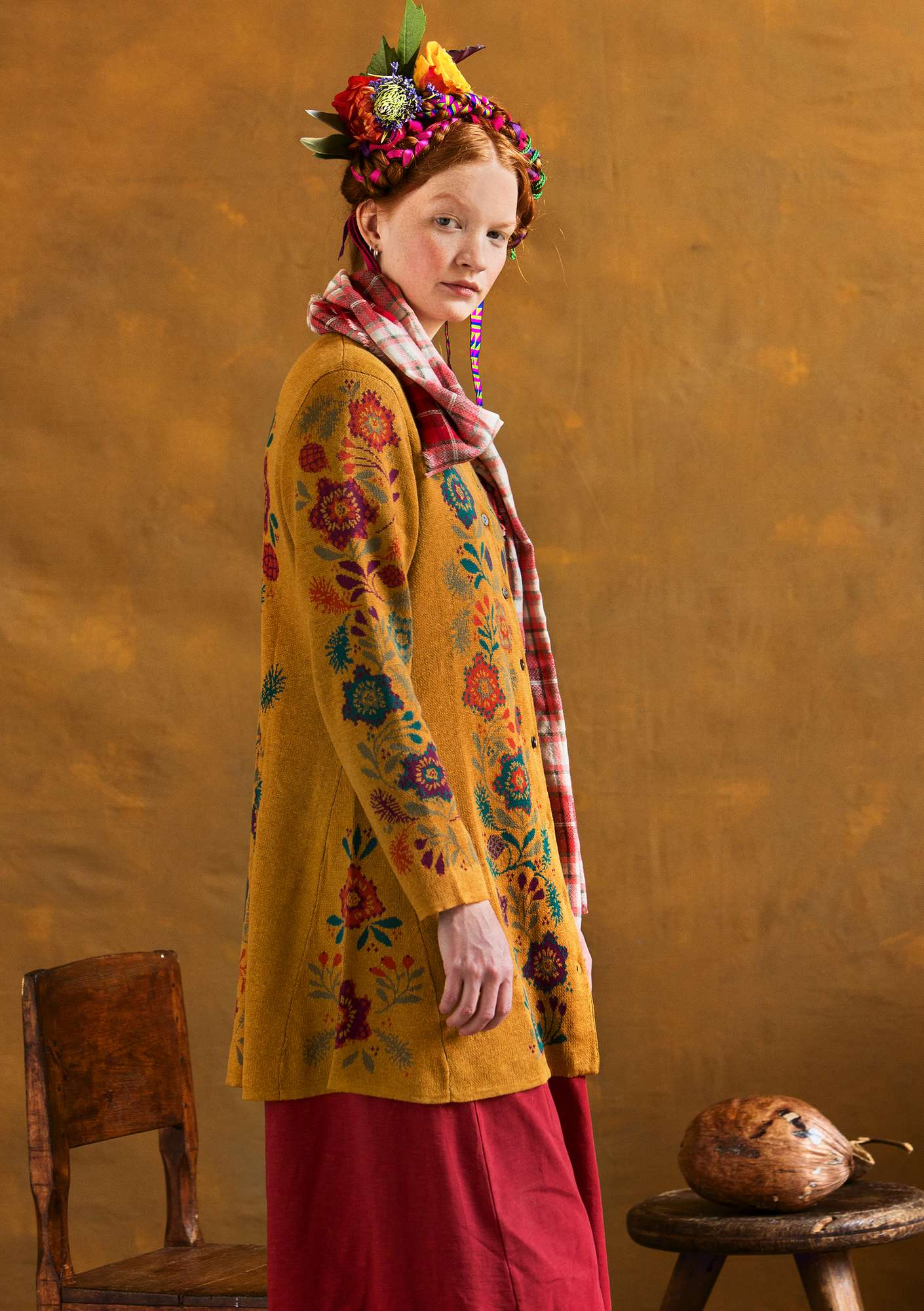 """Tagetes"" cardigan is crafted from linen/organic cotton/recycled cotton mustard"