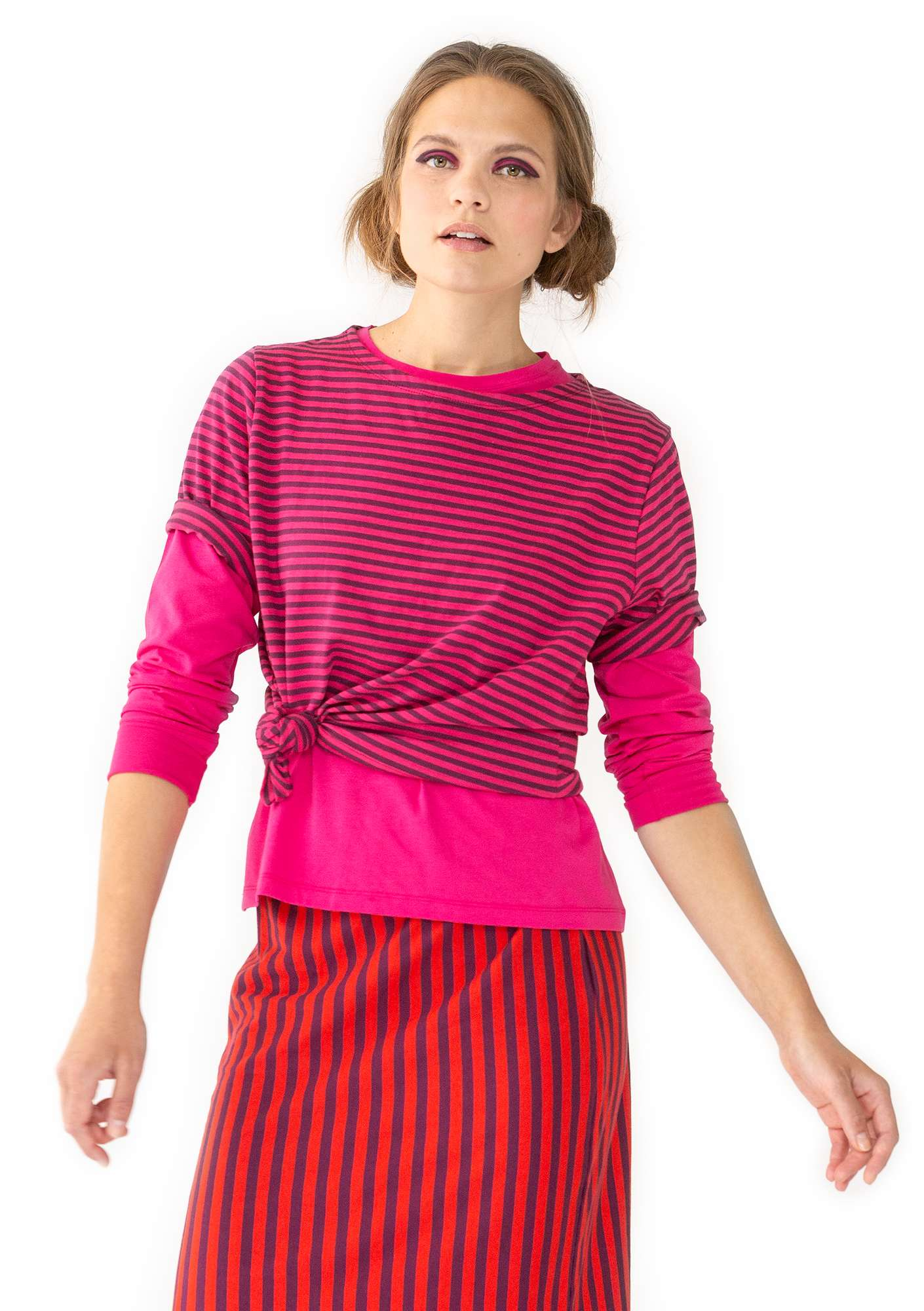 Block-striped T-shirt in organic cotton hibiscus/grape