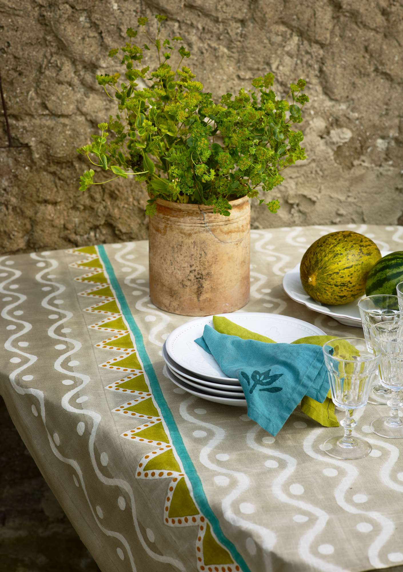 """Elder"" organic cotton block-printed tablecloth  natural"