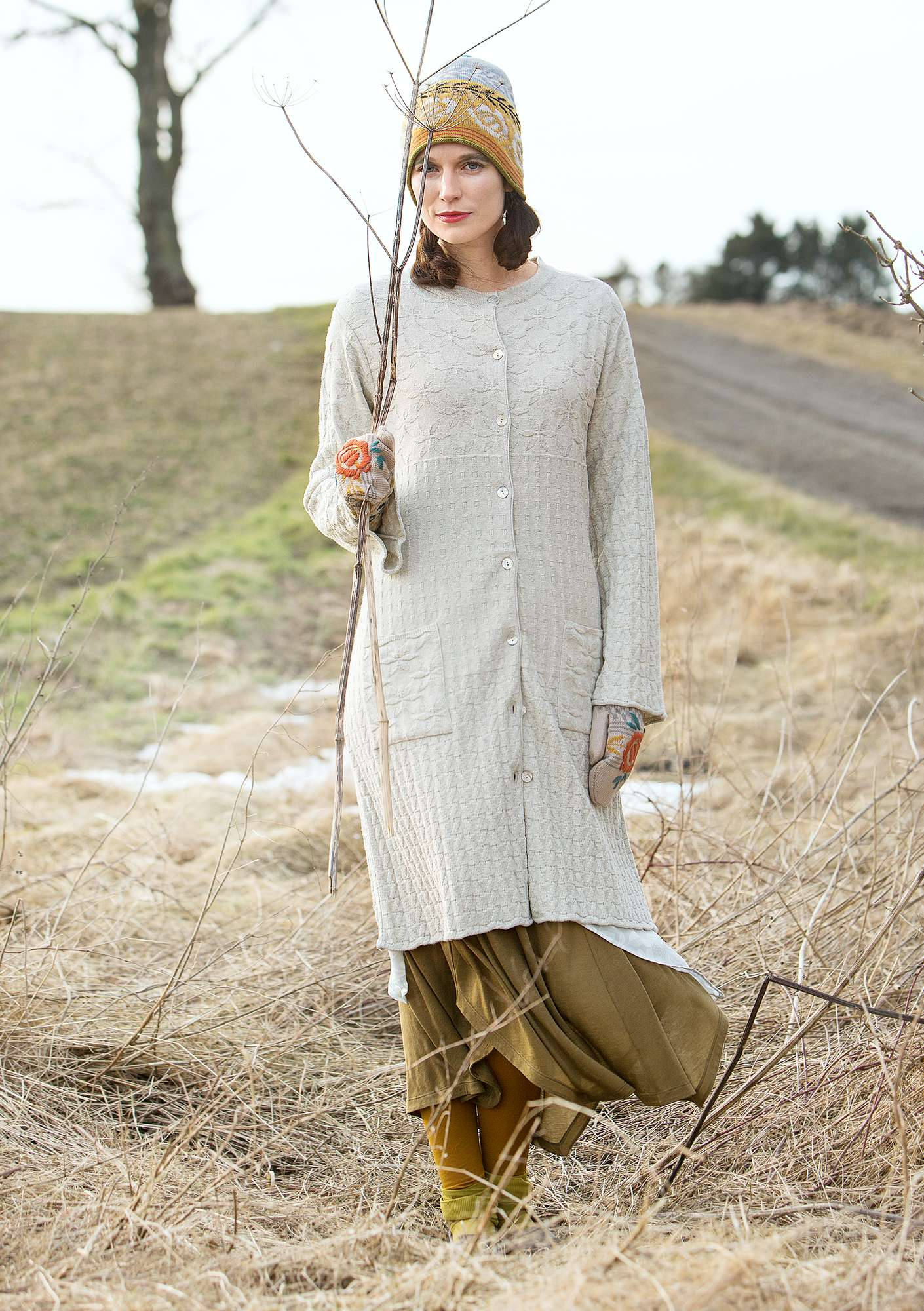 """Kristall"" long cardigan in recycled cotton natural melange"