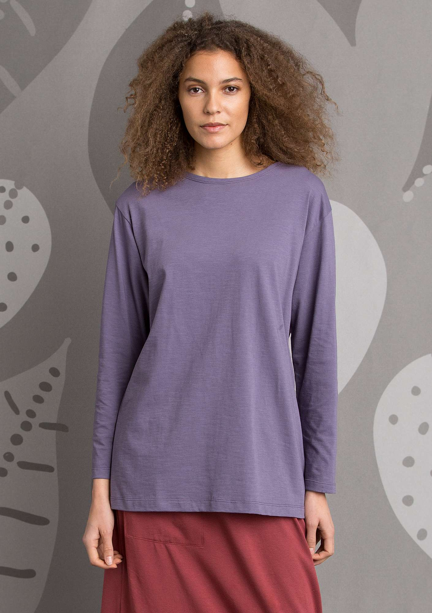Solid-colour jersey top