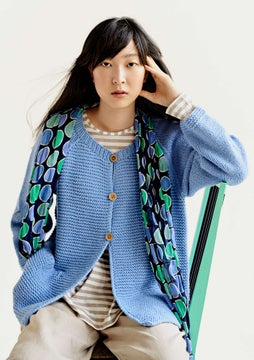 Hand-knitted cardigan mild blue