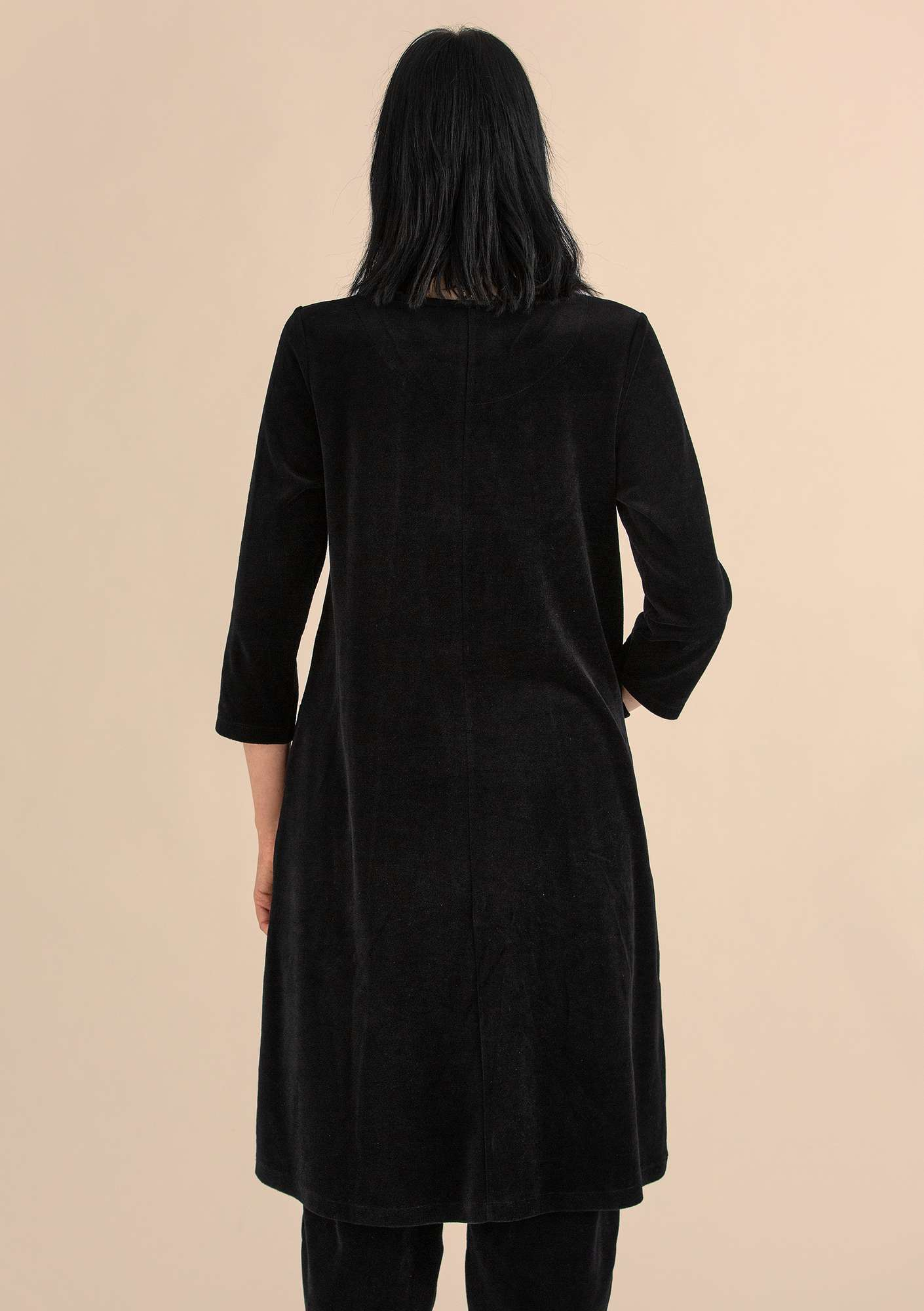 Velour dress in organic cotton/polyester black