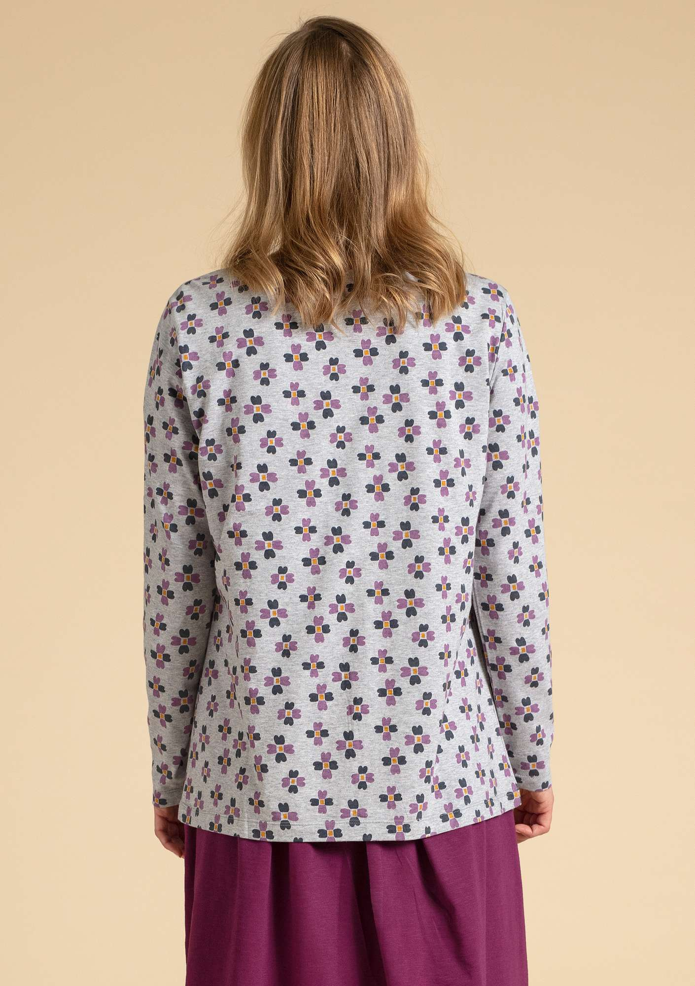 """Livia"" organic cotton top light grey melange/patterned"