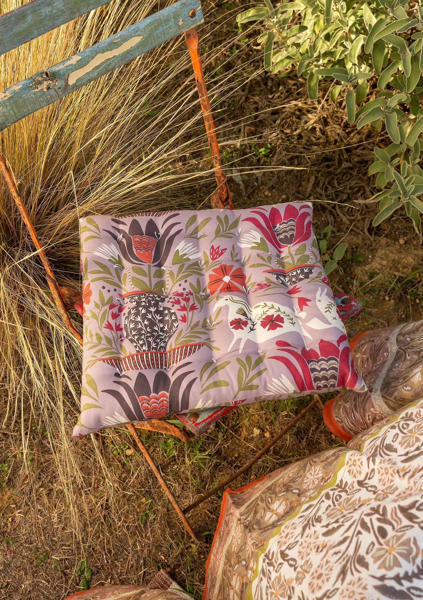 """Folkkonst"" organic cotton seat pad old rose"