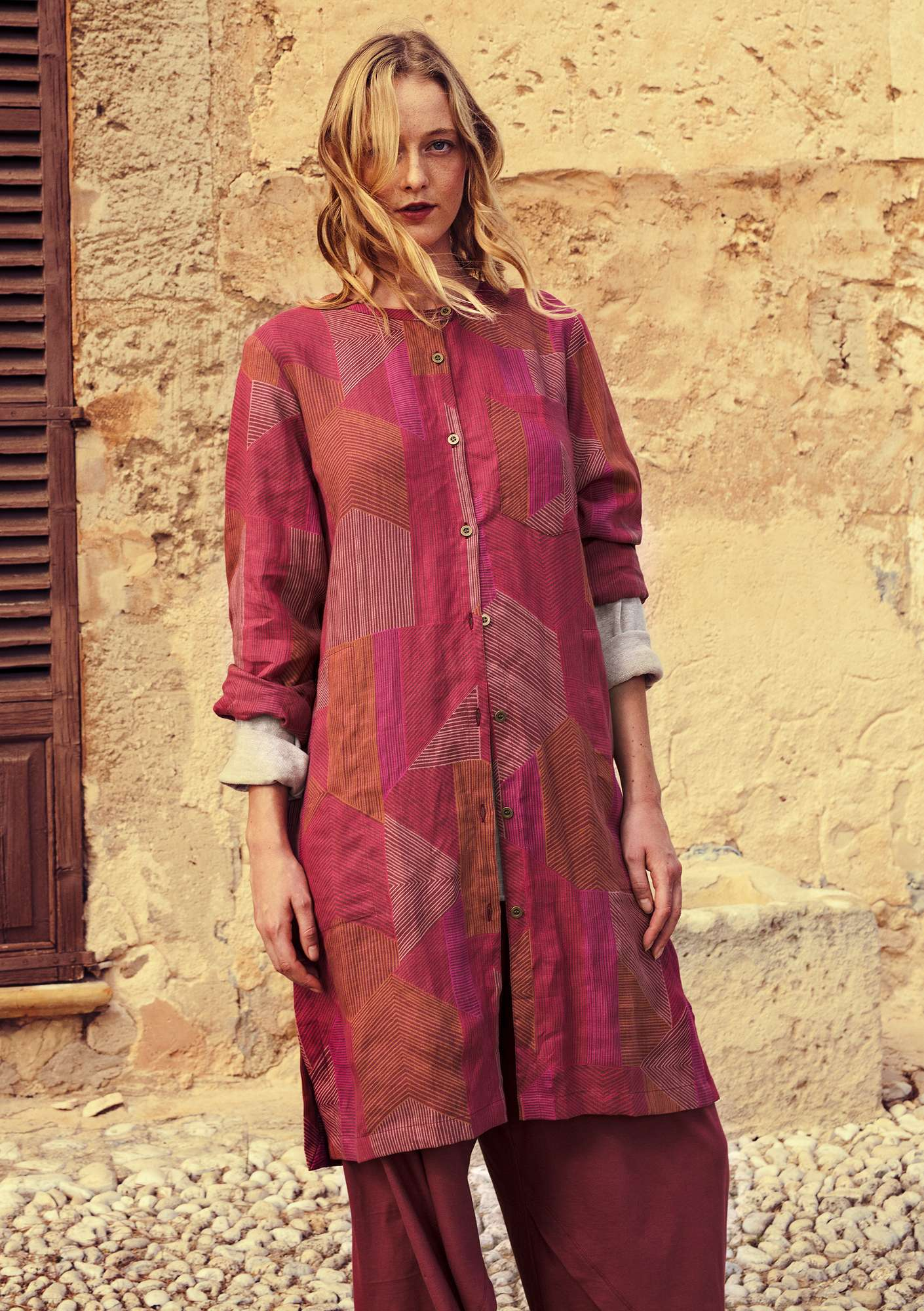 """Octo"" shirt dress in lyocell/linen"