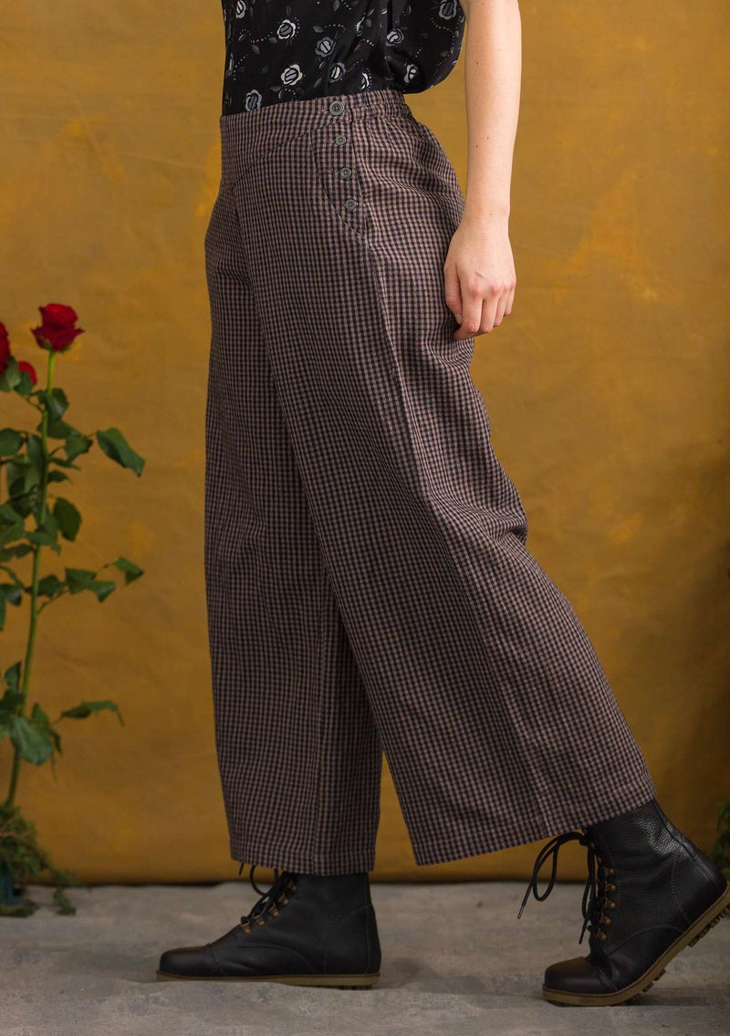 Pants in organic cotton/linen ash gray/patterned