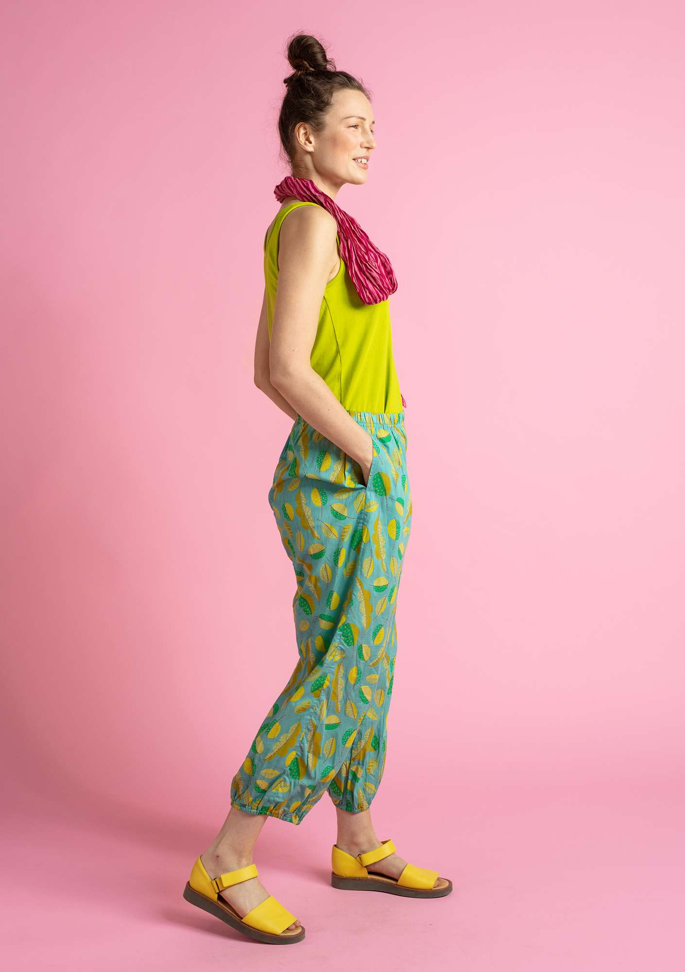 """Pepo"" organic cotton trousers jade/patterned"