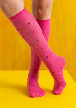 Dotted knee-highs hibiscus