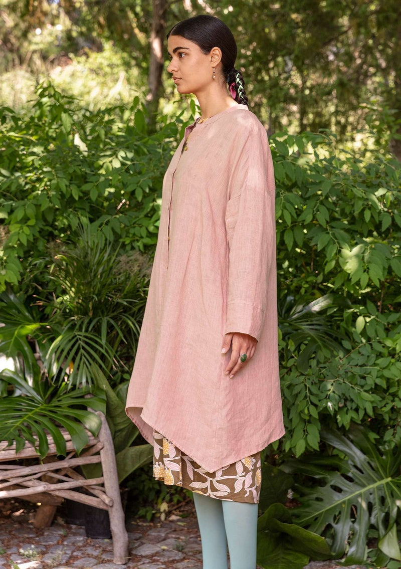 Linen shirtdress dusky pink