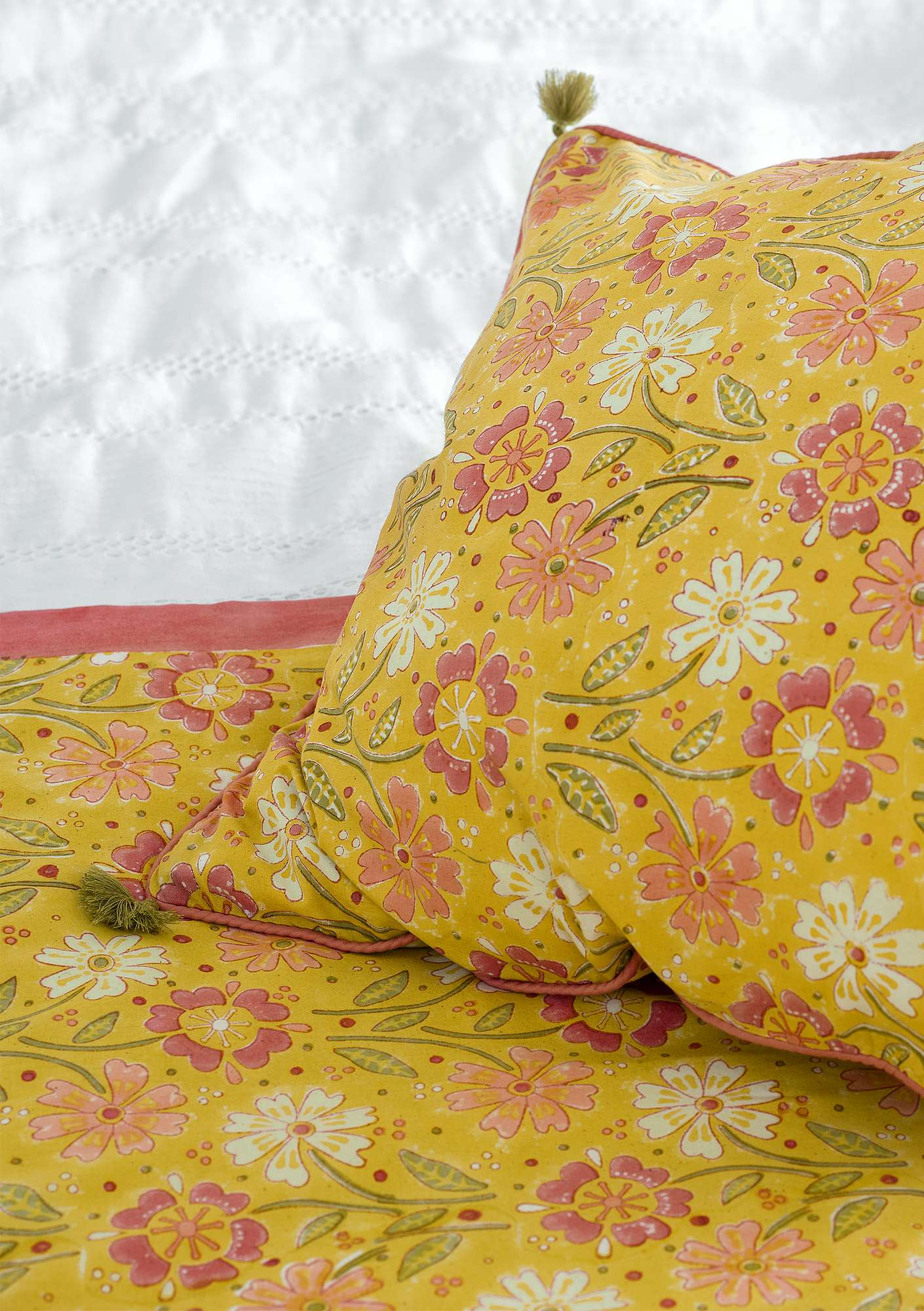 """Calendula"" block-printed eco-cotton fabric piece  coltsfoot"