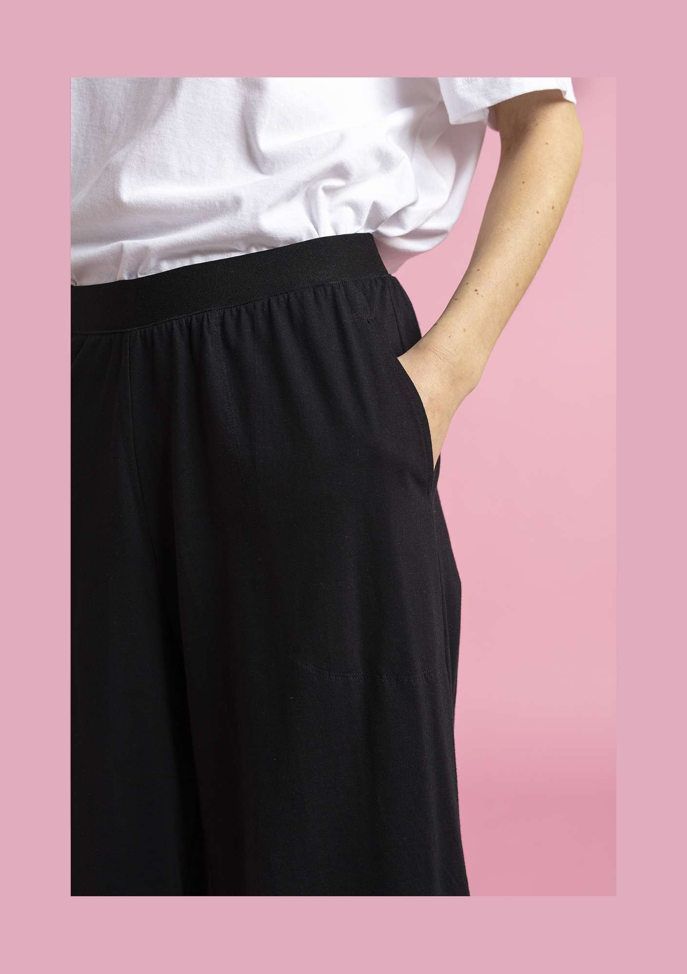 Jersey pants in eco-cotton black