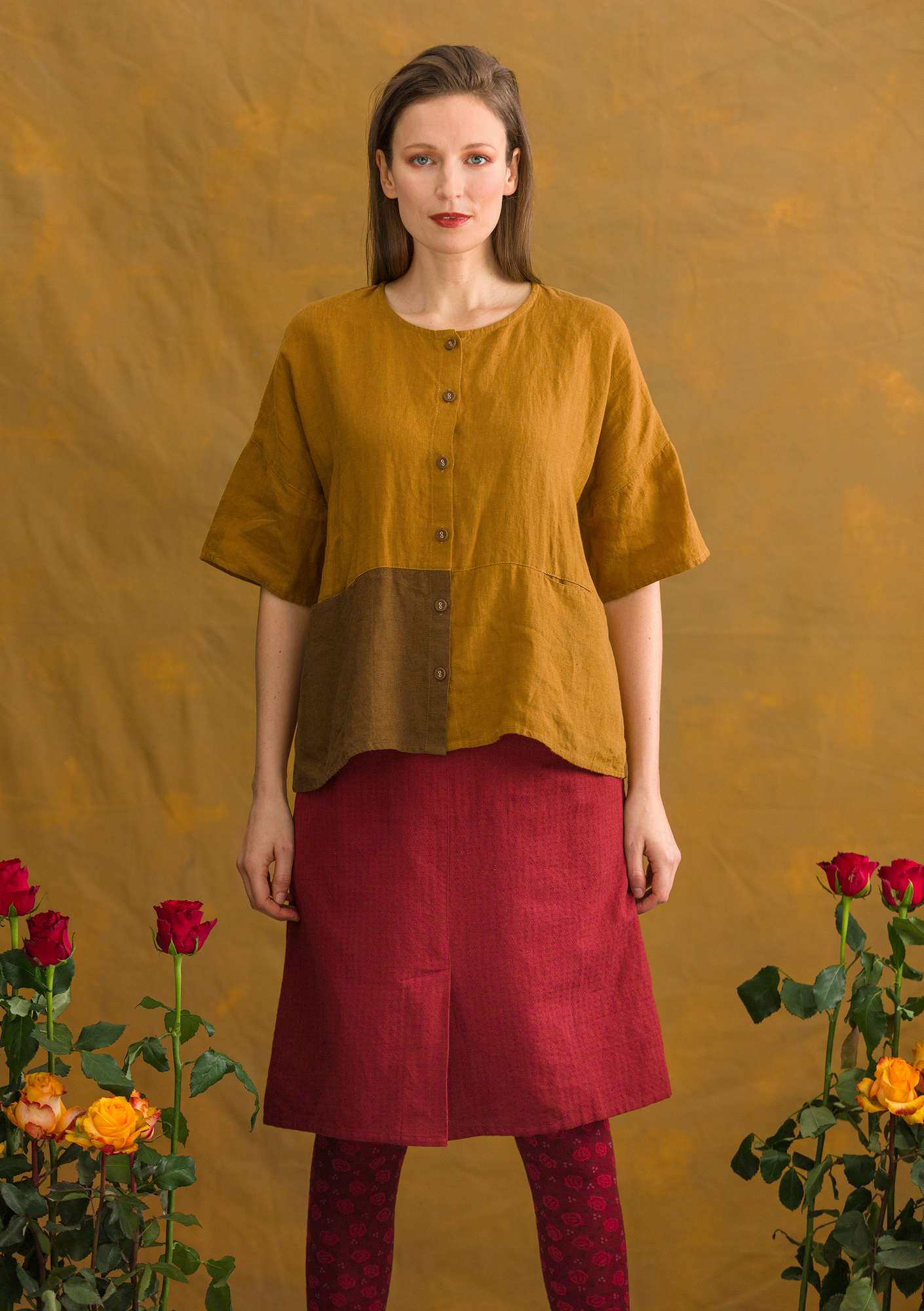 Blouse en lin curry