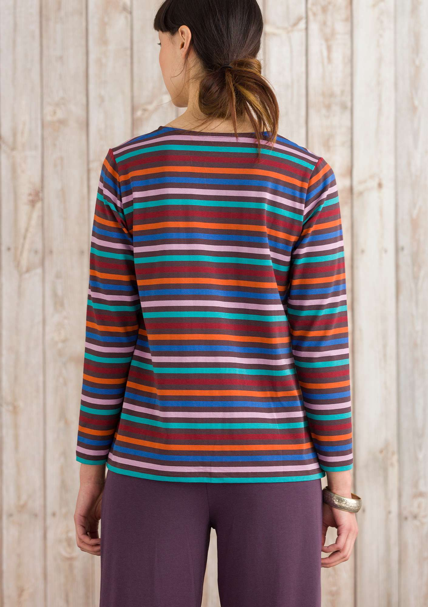 Long-sleeve top in modal/cotton/elastane multicoloured