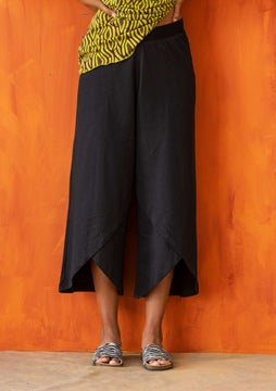 Overlapping jersey pants black