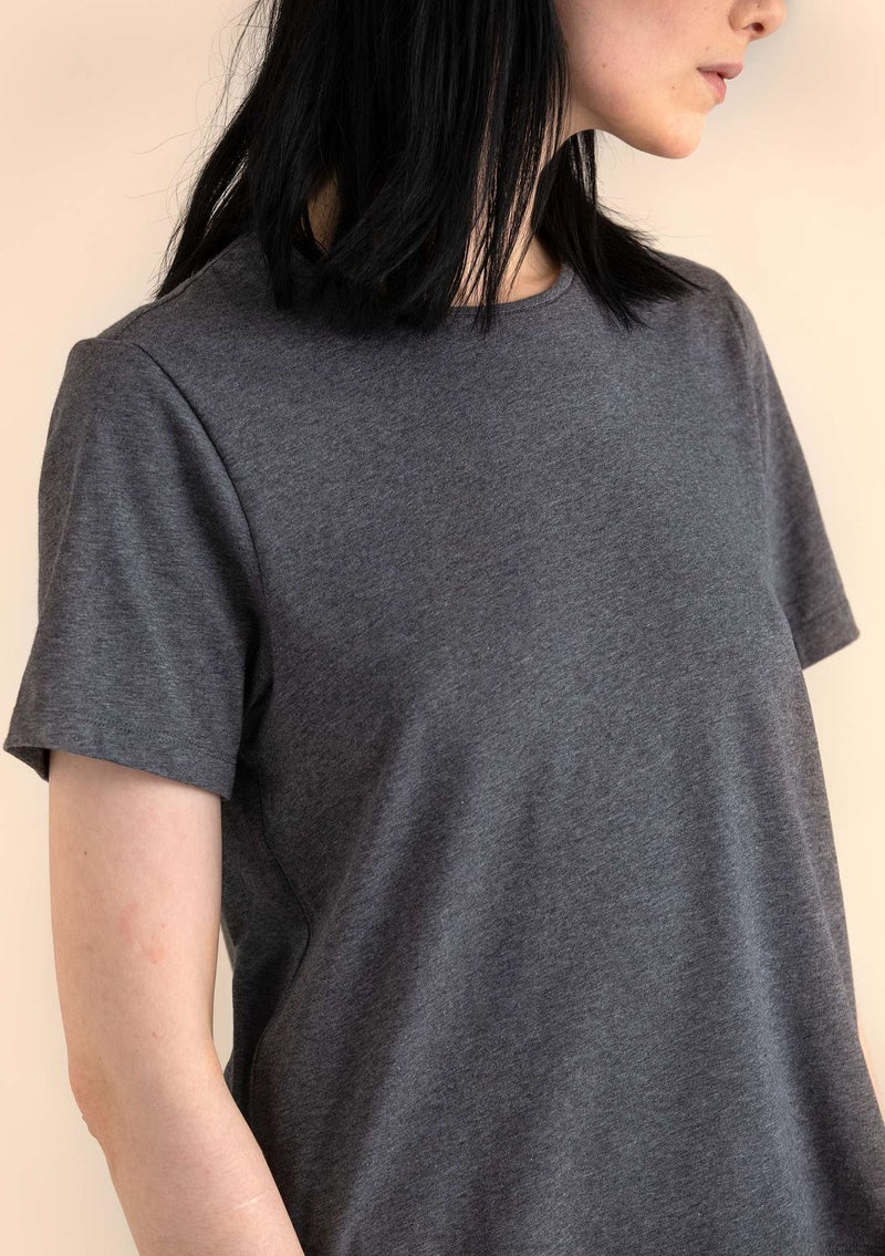 T-shirt in eco-cotton/spandex gray melange