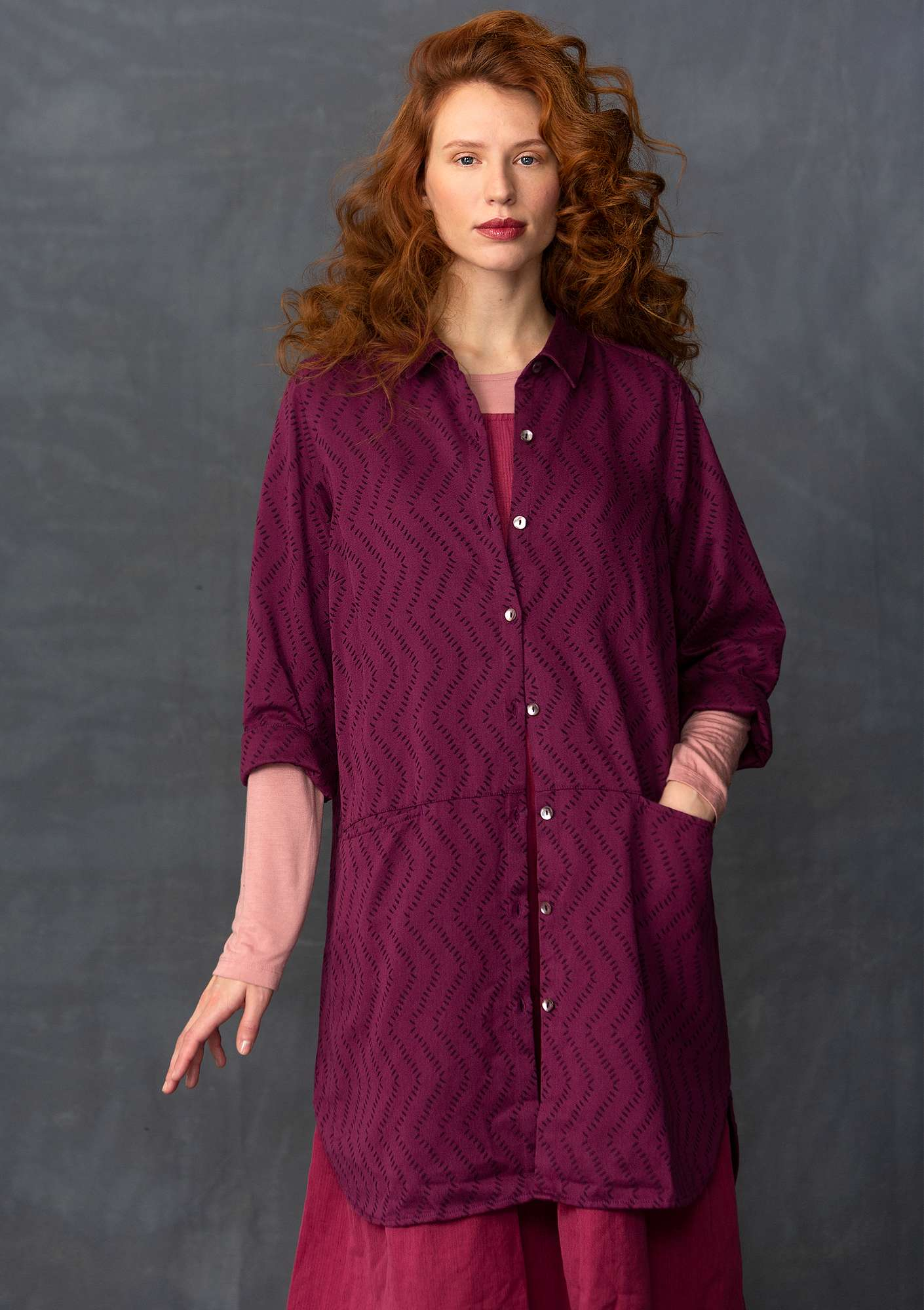 Cotton jacquard long shirt grape