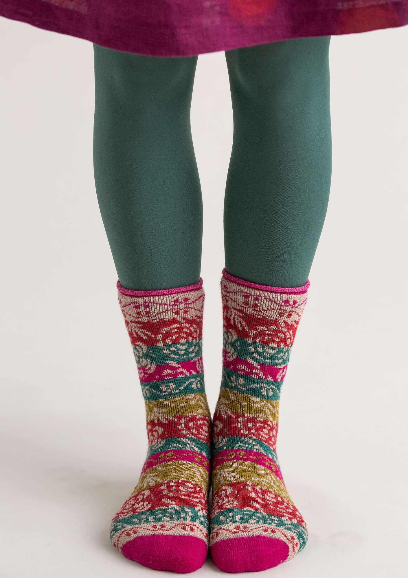 Leggings in recycled polyamide opal green