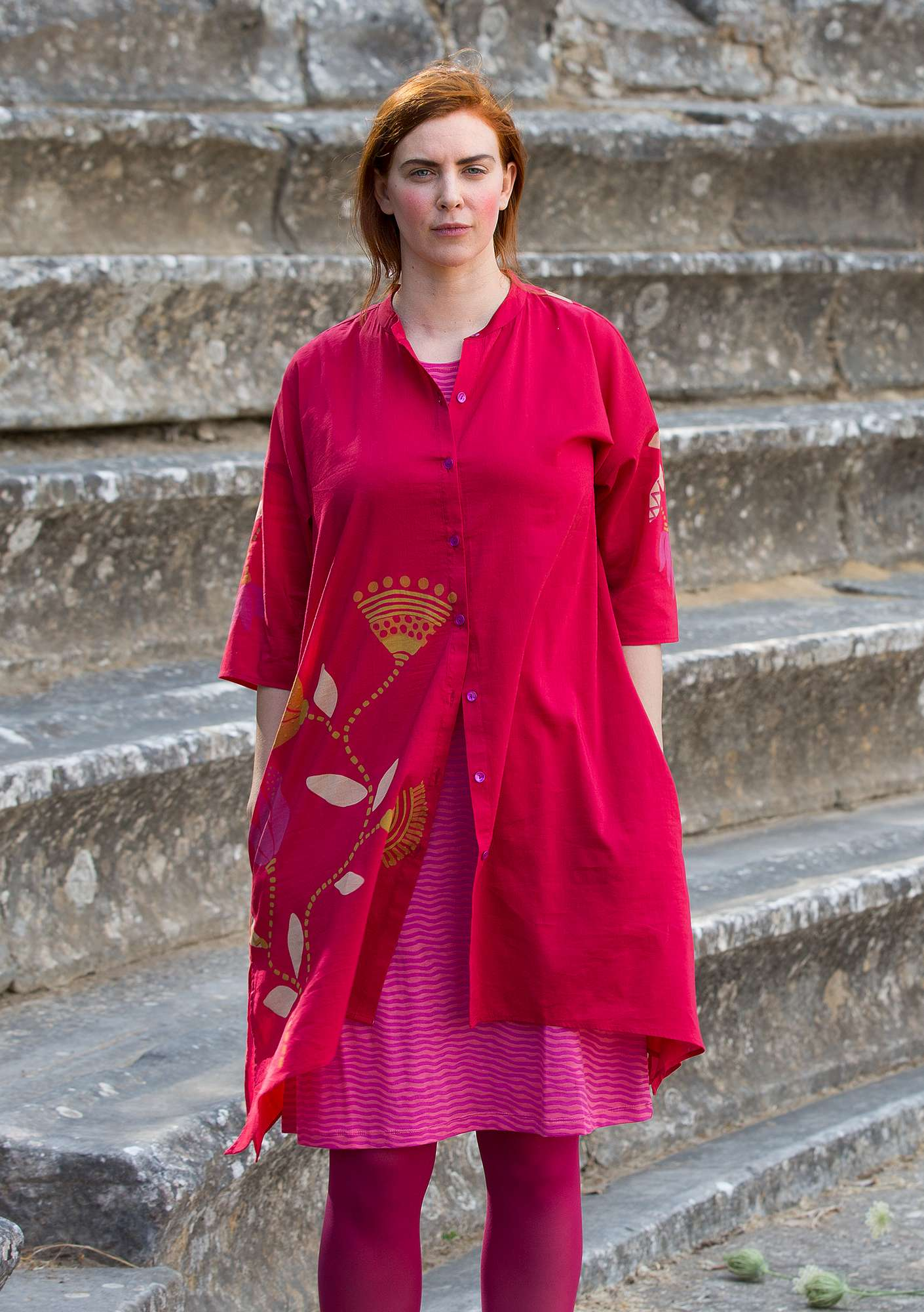 """Diana"" eco-cotton/silk tunic cherry"