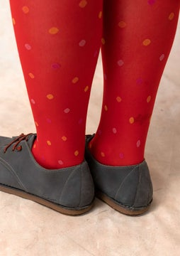 Dotted knee-highs bright red