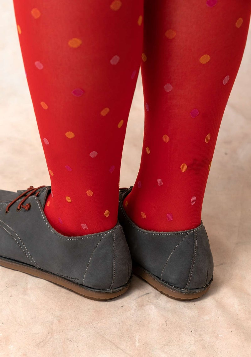 Dotted knee-highs in recycled polyamide bright red
